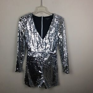 Haoduoyi silver sequins shorts romper